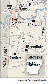 A map showing the location of Mansfield, Arkansas