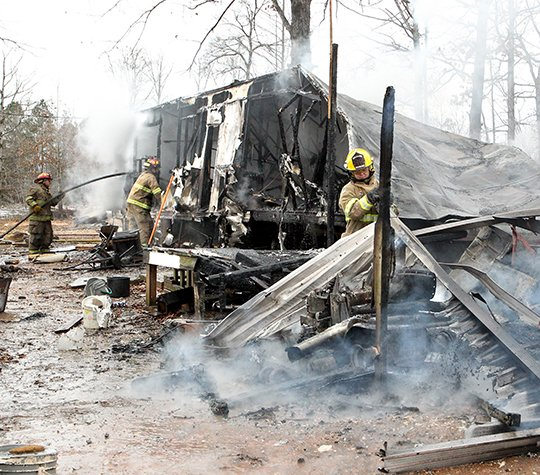 the-sentinel-recordrichard-rasmussen-trailer-engulfed-members-of-the-lonsdale-and-morning-star-fire-departments-extinguish-a-trailer-house-fire-at-354-rigsby-loop-on-friday-eight-firefighters-from-each-department-responded-to-the-fully-engulfed-fire-around-9-am-and-had-the-flames-controlled-in-less-than-15-minutes-the-probable-cause-was-attributed-to-a-wood-stove-fire-which-resulted-in-the-total-loss-of-the-structure-and-belongings