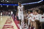 Arkansas guard Daryl Macon (4) walks to the bench during a game against Ole Miss on Saturday, Jan. 20, 2018, in Fayetteville.