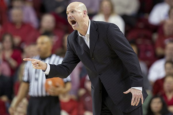 Mississippi head coach Andy Kennedy yells to his offense during the second half of an NCAA college basketball game against Arkansas on Saturday, Jan. 17, 2015, in Fayetteville, Ark. Mississippi defeated Arkansas 96-82. (AP Photo/Gareth Patterson)