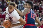 Arkansas Razorbacks forward Daniel Gafford (10) maneuvers past Mississippi Rebels forward Bruce Stevens (12) during a basketball game, Saturday, January 20, 2018 at Bud Walton Arena in Fayetteville.