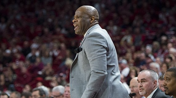 Mike Anderson shouts at his players during a 97-93 victory over Ole Miss, January 20, 2018.