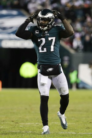 Malcolm Jenkins of the Philadelphia Eagles reacts during the second half Saturday against the Atlanta Falcons in Philadelphia. Jenkins gave an emotional speech to rally the team after starting quarterback Carson Wentz suffered a season-ending injury.
