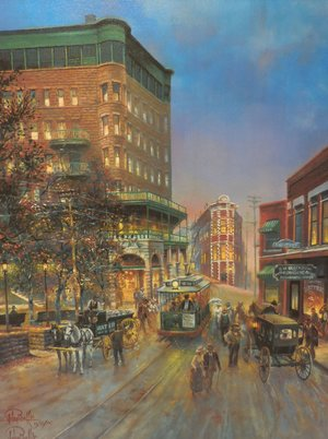Bell's daughter Lisa Murphy says her father loved streetcars and often captured them in his paintings, like this one of Spring Street in Eureka Springs. He also had an extensive model railroad collection.