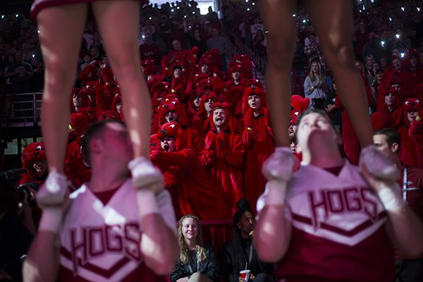 Arkansas students are shown prior to a game against Ole Miss on Saturday, Jan. 20, 2018, in Fayetteville.