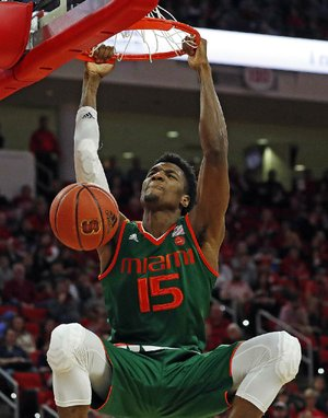 Miami's Ebuka Izundu (15) dunks during Miami's 86-81 victory over North Carolina State on Sunday in Raleigh, N.C.