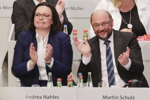 German Social Democrats OK coalition talks with Merkel bloc