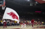 Arkansas Razorbacks cheerleaders cheer during a basketball game, Saturday, January 20, 2018 at Bud Walton Arena in Fayetteville.
