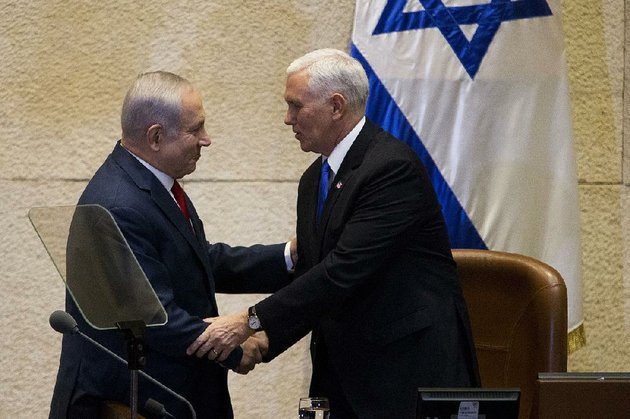 israels-prime-minister-benjamin-netanyahu-left-greets-us-vice-president-mike-pence-in-israels-parliament-in-jerusalem-on-monday