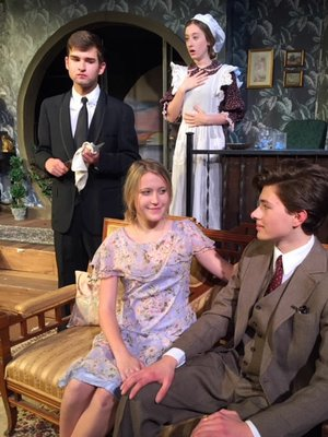 """Courtesy Photo Hannah Morton and Warren McCombs, seated, pause for a photo during rehearsal with Henry Aggus and Sarah Grace Baxter. The FHS production of """"And Then There Were None"""" runs this weekend."""