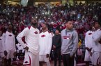 Arkansas players are shown during pregame ceremonies prior to a game against Ole Miss on Saturday, Jan. 20, 2018, in Fayetteville.