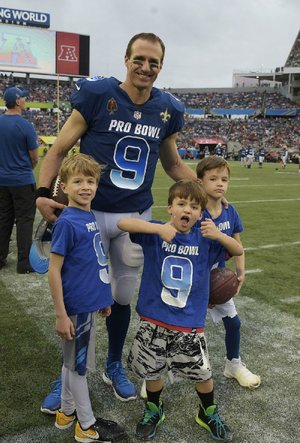 New Orleans Saints quarterback Drew Brees and his sons had an interesting day Sunday at  the Pro Bowl  in Orlando, Fla.