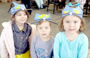 Photo submitted Lily, James and Katie rock their Pete the Cat headbands at story time in the Bella Vista Library.