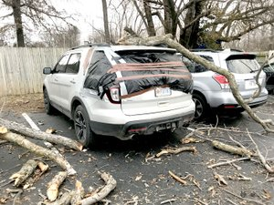 SUBMITTED Three cars were damaged by a falling tree limb at Gentry Family Dentistry on Jan. 22. No injuries were reported.