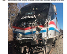Train carrying lawmakers hits truck in West Virginia