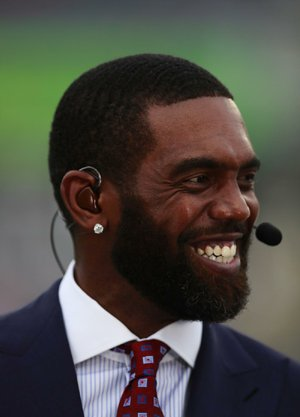 ESPN reporter and former NFL star Randy Moss on set before the NFL Pro Bowl football game Sunday, Jan. 28, 2018, in Orlando, Fla. The AFC won 24-23.
