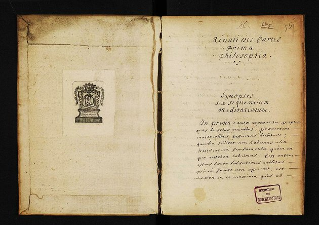 scans-are-shown-from-a-draft-of-rene-descartes-meditations-on-first-philosophy-the-draft-predates-the-1641-printed-edition