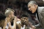 South Carolina head coach Frank Martin pounds his fist to get his team's attention during the second half of an NCAA college basketball game against Florida in Gainesville, Fla., Wednesday, Jan. 24, 2018. South Carolina won 77-72. (AP Photo/Ron Irby)