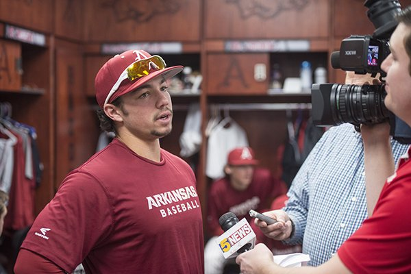 Arkansas outfielder Dominic Fletcher answers questions during the team's media day on Saturday, Jan. 27, 2018, in Fayetteville.