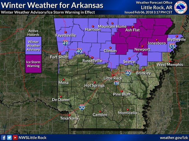 northern-arkansas-is-forecast-to-receive-potentially-hazardous-ice-accumulation-tuesday-and-into-early-wednesday-according-to-the-national-weather-service