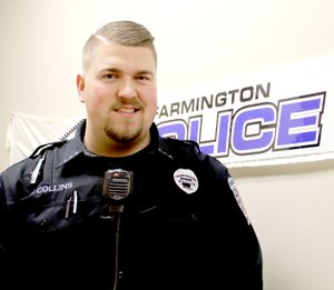 LYNN KUTTER ENTERPRISE-LEADER Justin Collins is a new officer with Farmington Police Department. He also is a part-time youth pastor.