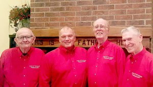 Photo submitted Four members of the Greater Ozarks Barbershop Harmony Chapter perform as a quartet on Valentine's day, serenading lovers all over Northwest Arkansas. They are Jim Nugent, Ed Barlow, Dick Francis and Bryce Hopkins.