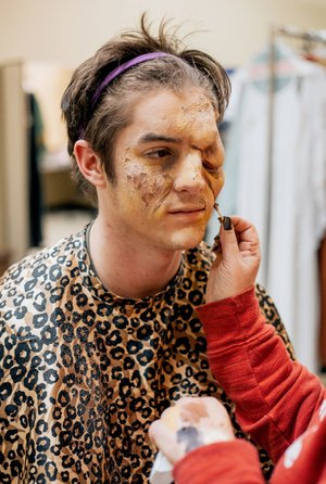 """Photo submitted Lead actor Josiah Comoama, junior Christian ministry and formation major, transforms into Quasimodo, the pitiable but good-hearted bell-ringer of Notre Dame Cathedral, in John Brown University's presentation of """"The Hunchback of Notre Dame."""" Performances are scheduled at 7:30 p.m. Feb. 16, Feb. 23 and Feb. 24, and at 1 p.m. Feb. 17 in the Berry Performing Arts Center."""