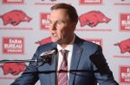 Arkansas coach Chad Morris speaks to reporters Wednesday, Feb. 7, 2018, in Fayetteville.