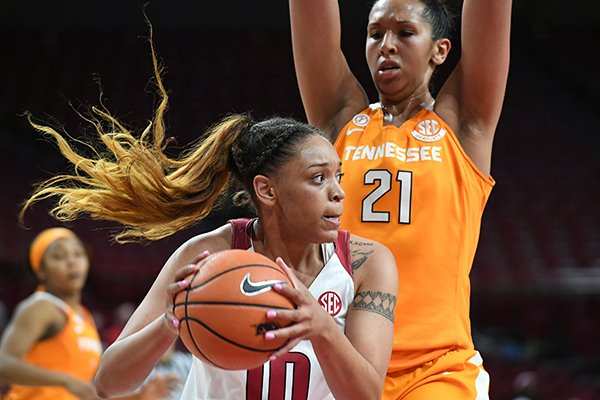 Arkansas' Kiara Williams tries to get past Tennessee's Mercedes Russell during a game Thursday, Feb. 8, 2018, in Fayetteville.