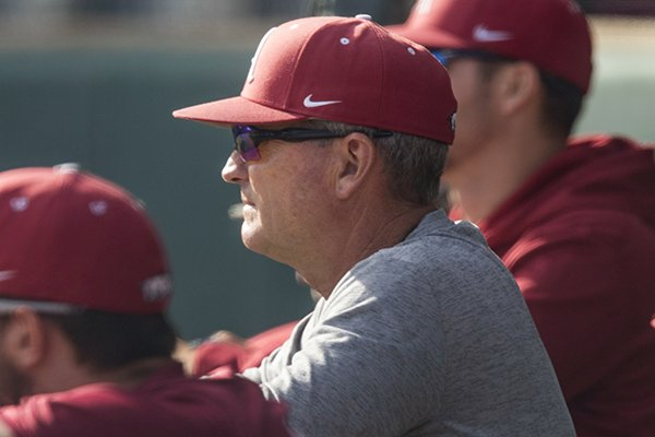Arkansas coach Dave Van Horn watches practice Wednesday, Oct. 11, 2017, in Fayetteville.