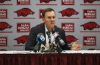 Arkansas football coach Chad Morris talks to reporters during a news conference Thursday, Feb. 8, 2018, in North Little Rock.