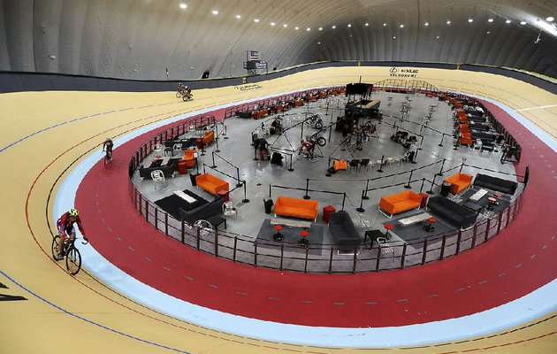 riders-cycle-the-track-in-the-new-lexus-velodrome-in-detroit-the-indoor-cycling-track-is-expected-to-draw-bike-riders-from-other-cold-weather-states-and-give-inner-city-youth-an-opportunity-to-get-involved-in-the-sport