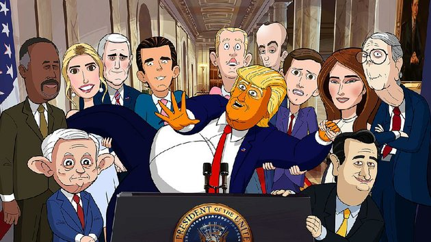 president-donald-trump-center-is-surrounded-by-the-characters-of-showtimes-new-our-cartoon-president-they-are-from-left-ben-carson-jeff-sessions-ivanka-trump-mike-pence-donald-trump-jr-eric-trump-stephen-miller-jared-kushner-melania-trump-ted-cruz-and-mitch-mcconnell