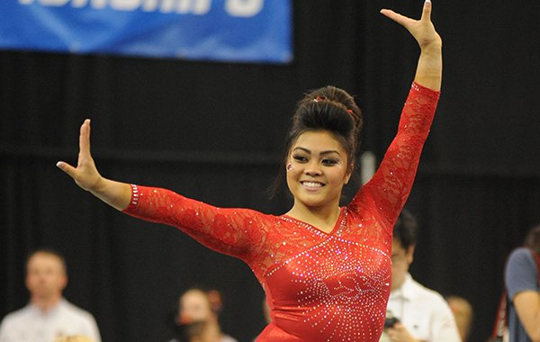 Arkansas' Jessica Yamzon competes Saturday, April 1, 2017, in the floor portion of the NCAA Gymnastics Fayetteville Regional in Barnhill Arena in Fayetteville.