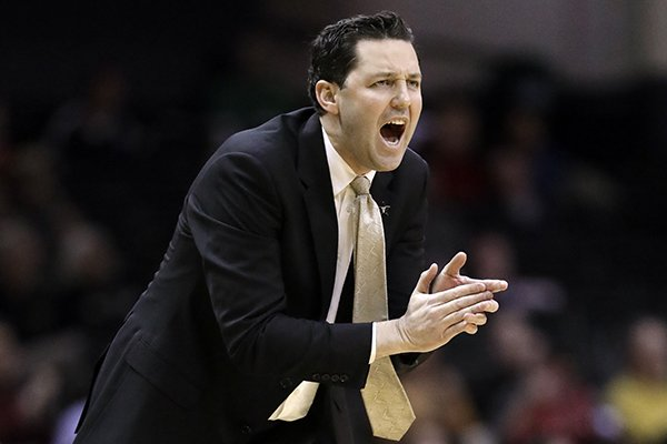 Vanderbilt head coach Bryce Drew yells to his players in the first half of an NCAA college basketball game against Georgia Wednesday, Feb. 7, 2018, in Nashville, Tenn. (AP Photo/Mark Humphrey)