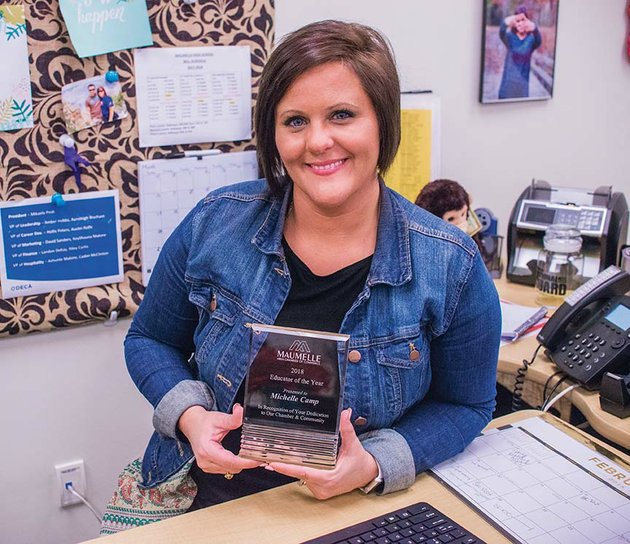 michelle-camp-who-teaches-business-and-marketing-at-maumelle-high-school-holds-the-award-for-2018-educator-of-the-year-she-was-honored-in-january-by-the-maumelle-area-chamber-of-commerce-camp-is-sponsor-of-the-high-schools-chapter-of-deca-an-association-of-marketing-students-and-oversees-the-work-program-in-the-community-shes-also-a-member-of-the-chambers-educational-committee