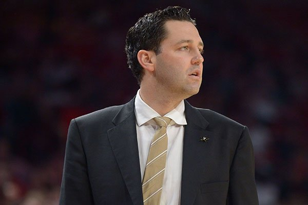 Vanderbilt coach Bryce Drew watches Saturday, Feb. 10, 2018, during the second half of play in Bud Walton Arena in Fayetteville.
