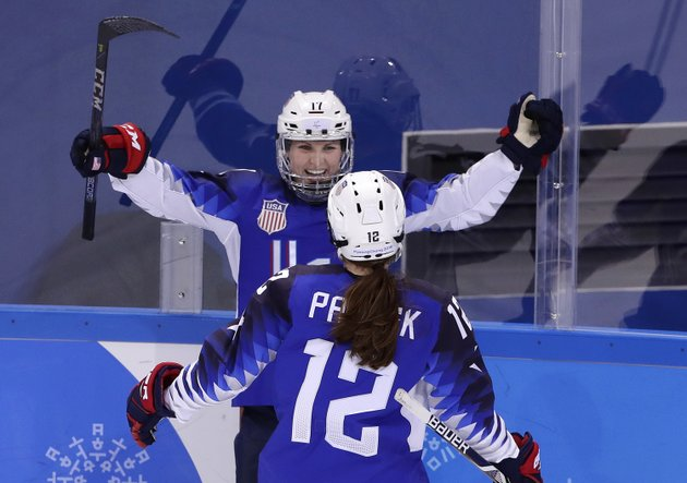 jocelyne-lamoureux-davidson-17-of-the-united-states-celebrates-her-second-goal-against-the-team-from-russia-with-kelly-pannek-12-during-the-second-period-of-the-preliminary-round-of-the-womens-hockey-game-at-the-2018-winter-olympics-in-gangneung-south-korea-tuesday-feb-13-2018-ap-photofrank-franklin-ii