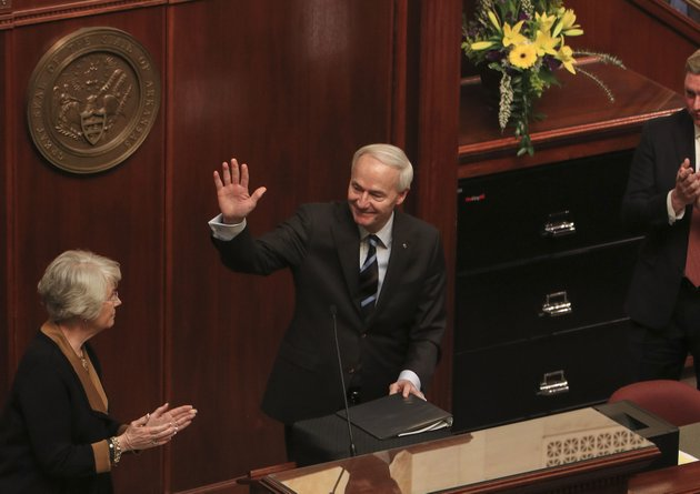 arkansas-democrat-gazettestaton-breidenthal-21218-gov-asa-hutchinson-waves-monday-afternoon-as-legislators-and-guests-applaud-after-his-speech-in-the-house-chamber-at-the-state-capitol