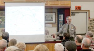 Keith Bryant/The Weekly Vista Troy Banzhaf, National Park Service chief of interpretation and visitor services at the Pea Ridge National Military Park, discusses the military action in Missouri that would ultimately lead to the battle at Pea Ridge.