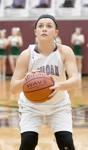 Bud Sullins/Special to the Herald-Leader Siloam Springs senior Morgan Vaughn lines up a free throw during last Wednesday's game against Alma.