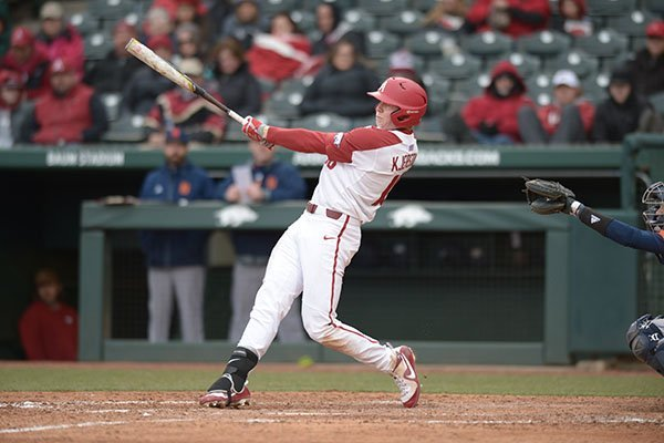 Arkansas' Heston Kjerstad bats during a game against Bucknell on Friday, Feb. 16, 2018, in Fayetteville.