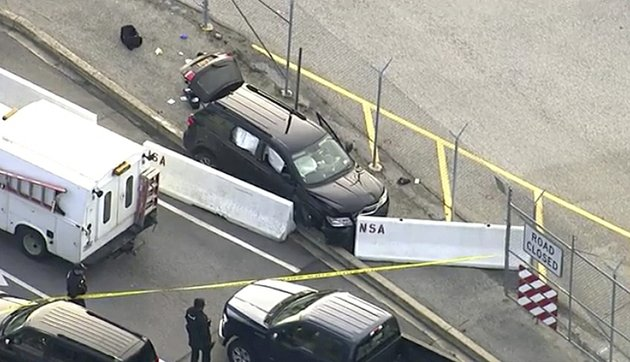 in-this-file-image-made-from-video-and-provided-by-wusa-tv-9-authorities-investigate-the-scene-of-a-shooting-at-fort-meade-md-on-wednesday-feb-14-2018-a-passenger-in-the-vehicle-that-was-fired-on-outside-the-national-security-agency-campus-says-the-unlicensed-teen-driver-made-a-wrong-turn-panicked-and-hit-the-gas-passenger-javonte-alhajie-brown-said-on-friday-feb-16-that-the-17-year-old-driver-was-following-gps-directions-to-reach-a-friends-house-in-a-maryland-suburb-but-he-turned-onto-a-restricted-access-road-that-leads-to-the-top-secret-installation-wusa-tv-9-via-ap