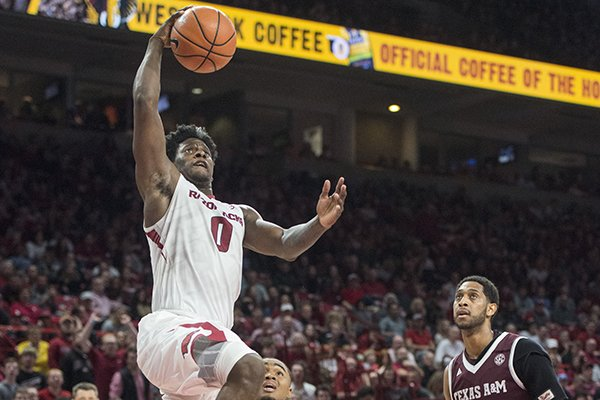 Arkansas guard Jaylen Barford goes up for a shot during a game against Texas A&M on Saturday, Feb. 17, 2018, in Fayetteville.