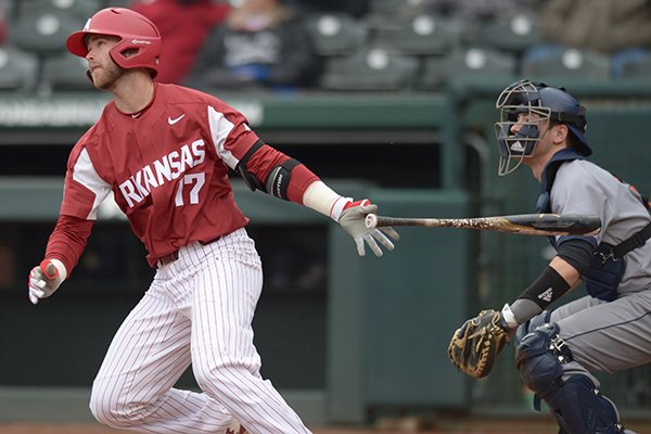 arkansas-outfielder-luke-bonfield-hits-a-home-run-during-the-first-inning-of-a-game-against-bucknell-on-saturday-feb-17-2018-in-fayetteville