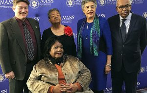 Arkansas Secretary of State Mark Martin (back, left) poses Sunday with members of the Little Rock Nine Elizabeth Eckford (left center), Carlotta Walls LaNier and Ernest Green, and Melba Patillo Beals (front) in Washington, D.C. The four members of the Little Rock Nine received an award from the National Association of Secretaries of State. Martin had nominated them.