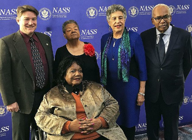 arkansas-secretary-of-state-mark-martin-back-left-poses-sunday-with-members-of-the-little-rock-nine-elizabeth-eckford-left-center-carlotta-walls-lanier-and-ernest-green-and-melba-pattillo-beals-front-in-washington-dc-the-four-members-of-the-little-rock-nine-received-an-award-from-the-national-association-of-secretaries-of-state-martin-had-nominated-them