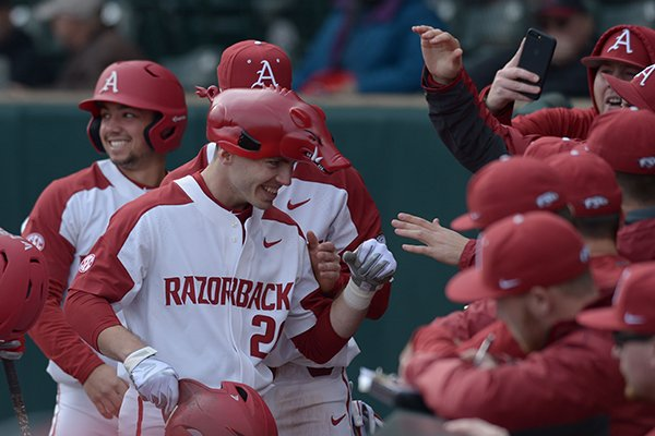 Arkansas Bucknell Friday, Feb. 16, 2018, during the inning at Baum Stadium in Fayetteville.