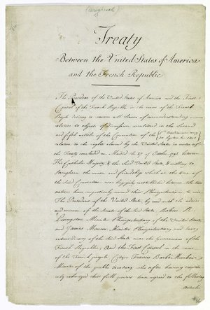 """The first page of the treaty between France and the United States is being displayed in """"The Great Exhibition: Exploring the Louisiana Purchase and Its Impact on Arkansas."""""""