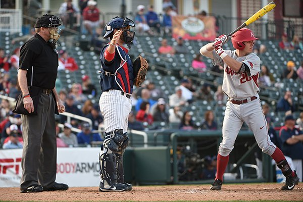 Arizona catcher Cesar Salazar calls for an intentional walk while Arkansas' Carson Shaddy bats during a game Friday, March 3, 2017, in Frisco, Texas.